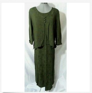 TEDDI Dress Set 8 Green floral Maxi sheath Scoop
